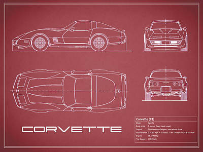 American Cars Photograph - Corvette C3 Blueprint - Red by Mark Rogan