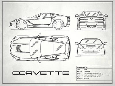 Car blueprint art fine art america car blueprint photograph corvette c7 blueprint in white by mark rogan malvernweather Image collections