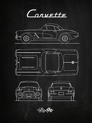 Corvette Chalkboard Art Print by Mark Rogan