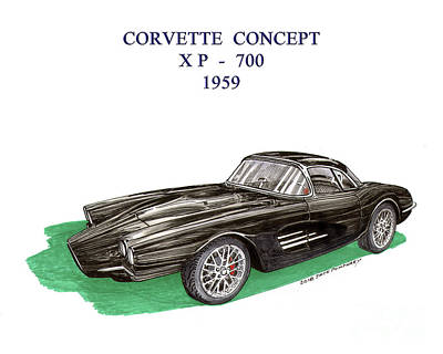 Mixed Media - Corvette Concept Xp 700 by Jack Pumphrey