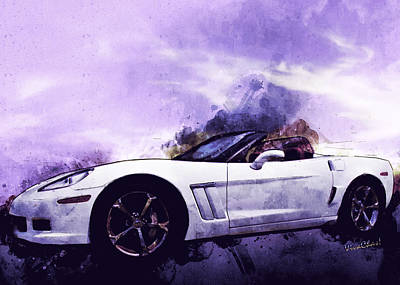 Mixed Media - Corvette Convertible Pen And Watercolor by Chas Sinklier