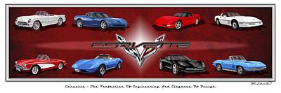 Chevrolet Corvette Painting - Corvette Generations by Rudy Edwards