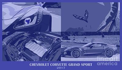 Giftideas Digital Art - Corvette, Grand Sport, 2017, Four In One Blue by Pablo Franchi