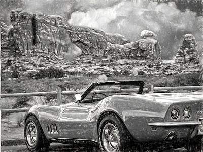 Sportscar Drawing - Corvette In Moab by Alice Gipson