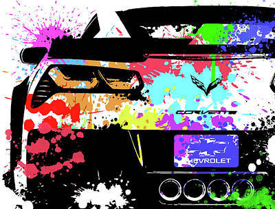 Recently Sold - Sports Royalty-Free and Rights-Managed Images - Corvette Pop Art 1 by Ricky Barnard