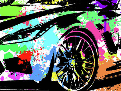 Digital Art - Corvette Pop Art 3 by Ricky Barnard