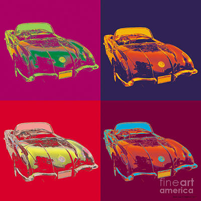 Digital Art - Corvette Pop Art by Jean luc Comperat