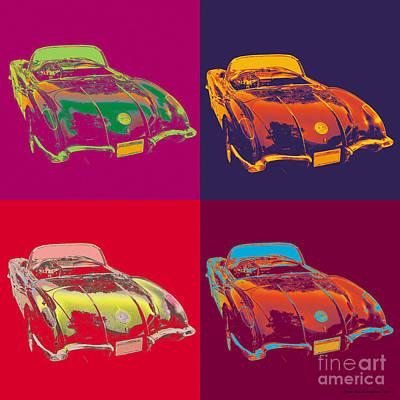 Digital Art - Corvette Pop Art by Jean luc Comperat