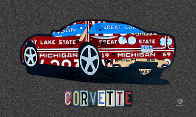 Corvette Recycled Artwork Made With Vintage Recycled Michigan License Plates Art Print