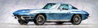 Painting - Corvette Stingray - 01 by Andrea Mazzocchetti
