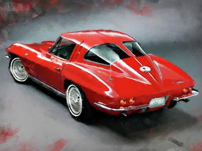 Painting - Corvette Stingray - 03 by Andrea Mazzocchetti