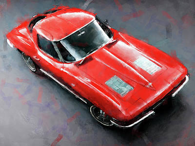 Painting - Corvette Stingray - 04 by Andrea Mazzocchetti