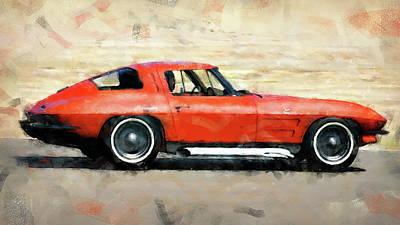 Painting - Corvette Stingray - 05 by Andrea Mazzocchetti