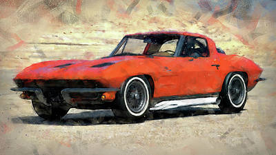 Painting - Corvette Stingray - 06 by Andrea Mazzocchetti