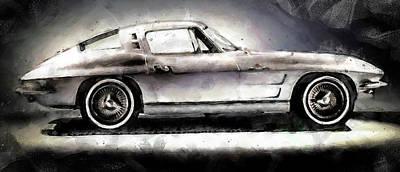 Painting - Corvette Stingray - 10 by Andrea Mazzocchetti