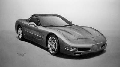 Sport Car Drawing - Corvette by Tim Dangaran