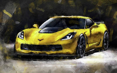 Painting - Corvette Z06 - 48 by Andrea Mazzocchetti