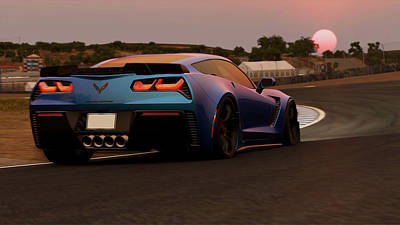 Painting - Corvette Z06 - Moonrise On Laguna Seca by Andrea Mazzocchetti