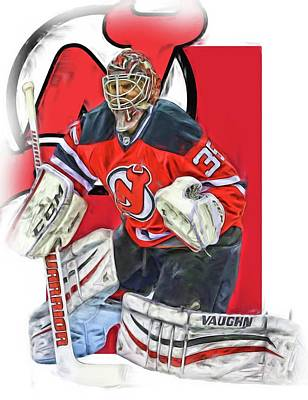 Hockey Mixed Media - Cory Schneider New Jersey Devils Oil Art by Joe Hamilton