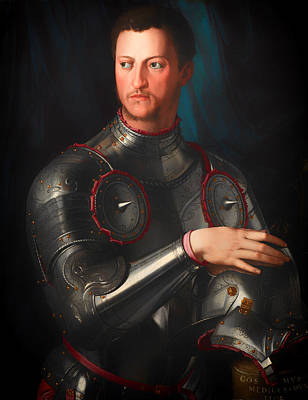 Antique Italian Oil Painting - Cosimo L De' Medici In Armour by Mountain Dreams