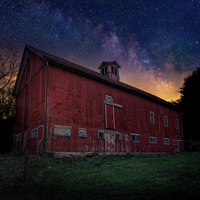Cosmic Barn Square Print by Bill Wakeley