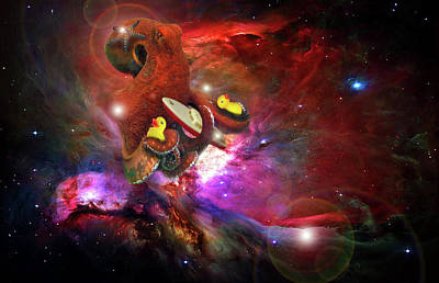 Toy Boat Digital Art - Cosmic Bath Time by Leah Marie King