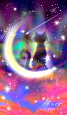 Celestial Painting - Cosmic Cat On Crescent Moon by Nick Gustafson