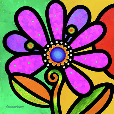 Painting - Cosmic Daisy In Pink by Steven Scott