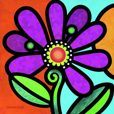 Painting - Cosmic Daisy In Purple by Steven Scott