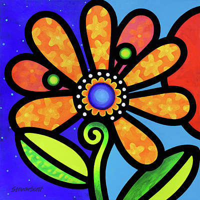 Painting - Cosmic Daisy In Yellow by Steven Scott