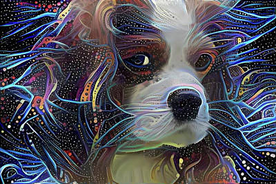 Digital Art - Cosmic King Charles Spaniel by Peggy Collins