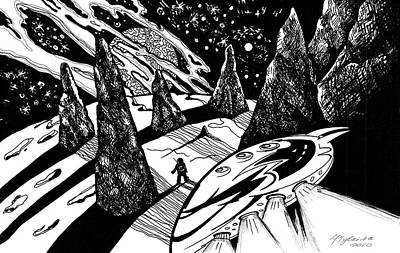 Drawing - Cosmic Landscape With Space Explorer by Yelena Tylkina