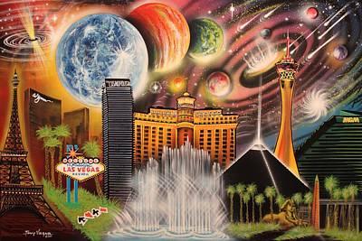 Bellagio Painting - Cosmic Las Vegas by Tony Vegas