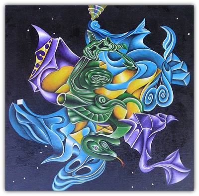 Telepathy Painting - Cosmic Love Dragon by Wes Aden
