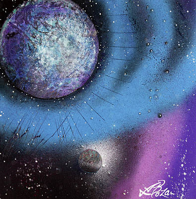 Planet System Painting - Cosmic Moon by Laura Barbosa