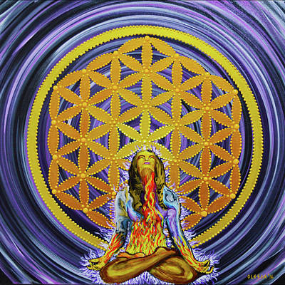Metatron Cube Painting - Cosmic Oneness by Olesea Arts
