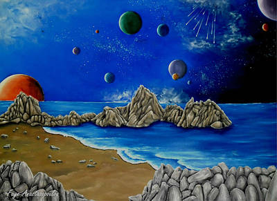 Planet Fantastic Painting - Cosmic Perception by Faye Anastasopoulou