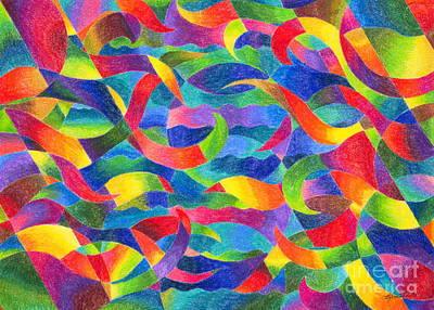 Drawing - Cosmic Ribbons by Kristen Fox