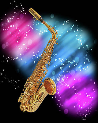 Color On Black Photograph - Cosmic Sax by Gill Billington