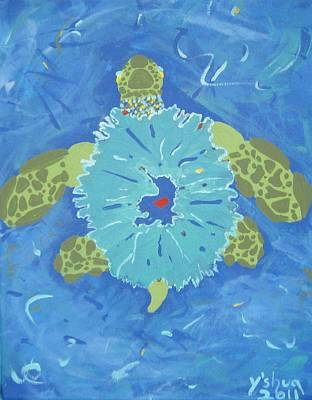Art Print featuring the painting Cosmic Turtle by Yshua The Painter