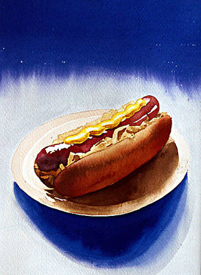 Hot Dogs Painting - Cosmic Weenie by Eunice Olson