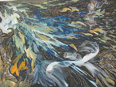Painting - cosmig storm bombard the Moon by Vlado Katkic