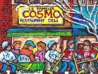 Painting - Cosmo Famous Deli Restaurant Painting Montreal Winter City Hockey Scene Canadian Art Carole Spandau  by Carole Spandau