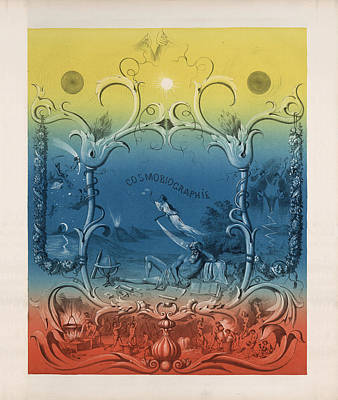 Drawing - Cosmobiographie - The Three Worlds - Heaven, Earth And Hell - Antique Illustration by Studio Grafiikka