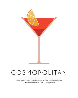 Cocktails Mixed Media - Cosmopolitan Classic Cocktail - Minimalist Print by Studio Grafiikka