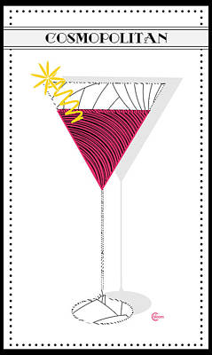 Stylized Beverage Mixed Media - Cosmopolitan Cocktail Pop Art Deco  by Cecely Bloom