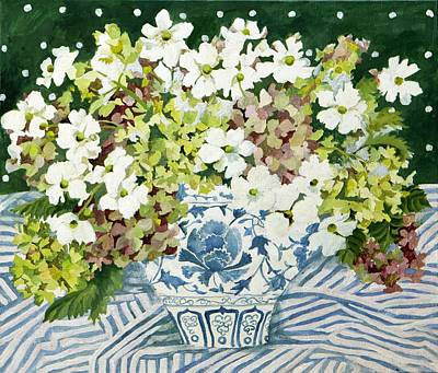 Table Cloth Painting - Cosmos And Hydrangeas In A Chinese Vase by Jennifer Abbot