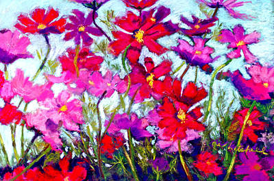 Cosmos Painting - Cosmos Bouncing In The Breeze by Cheryl Whitehall