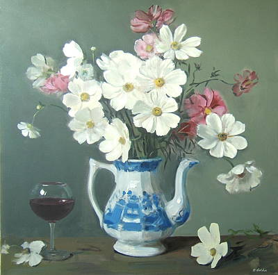 Painting - Cosmos Bouquet In Blue And White Coffeepot With Wine by Robert Holden