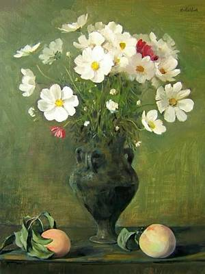 Painting - Cosmos Bouquet In Green Moroccan Vase With Peaches by Robert Holden